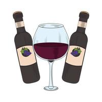 wineglass and wine botttles and glass design