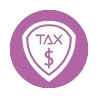 Obligación fiscal escudo icono aislado vector