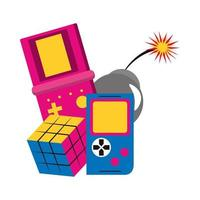 retro videogames portable and scramble cube toy and bomb vector