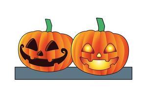 halloween pumpkins lanterns isolated icon vector