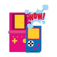 pop art design of retro portable videogames vector