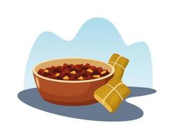 mexican tamales and fried beans vector