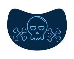 halloween head skull neon style icon vector