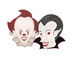 dark evil clown and dracula heads halloween characters vector
