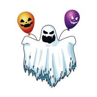 halloween ghost floating and helium balloons character icon vector