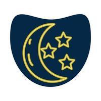 luna creciente y estrellas icono de estilo neón vector