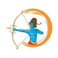 dios azul rama y tiro con arco, icono de la religión hindú vector