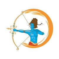 blue god rama and archery, hindu religion icon vector