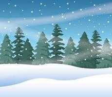 forest snowscape scene nature icon vector