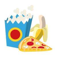 popcorn box with pizza slice and banana vector