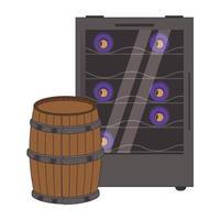 wine cooler fridge and wooden barrel vector