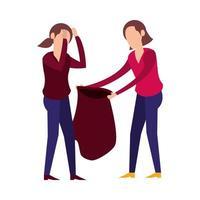 women lifting plastic garbage bag