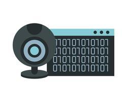plantilla de página web con números de código binario y cámara web vector