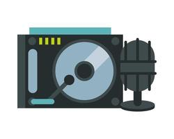 microphone with record player vector
