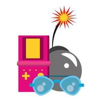 retro glasses and videogame bomb with burning fuse