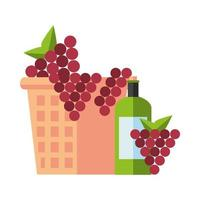 wine cup and bottle with grapes