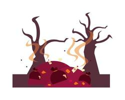 dry forest and garbage global warming scene vector