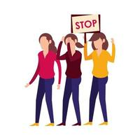 young women protesting with stop banner vector