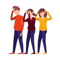 group of unhappy people avatars vector