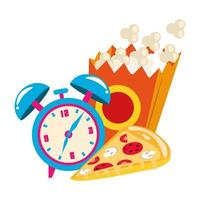 pop orn box with alarm clock and pizza slice vector