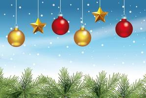 merry christmas card with balls and stars hanging vector