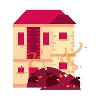house front facade with garbage vector