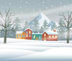 merry christmas card with neighborhood snowscape scene vector