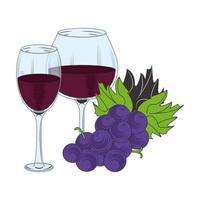 Diseño de copas de vino y racimo de uvas. vector