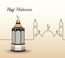 celebración del hajj mabrour con escena de mezquita vector
