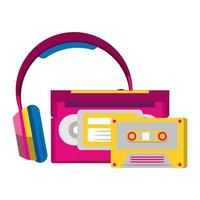 retro cassettes and headphones over white background