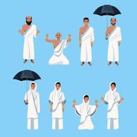 group of islamic persons characters vector