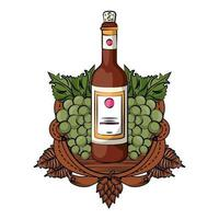 wine bottle with grapes and barrel vector
