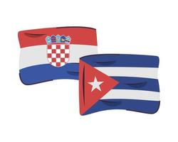 croatia and cuba flags counries isolated icon vector