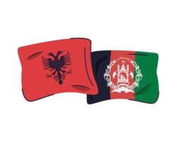 afganistan and albania flags isolated icon vector