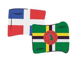 dominican republic and dominica flags isolated icon vector