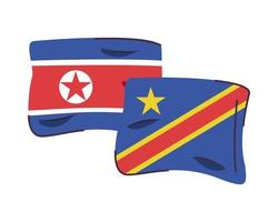 north korea and congo dr flags isolated icon vector