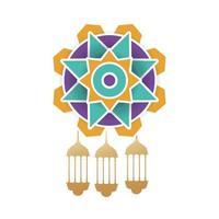 linternas de oro ramadan kareem colgando en mandala vector