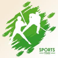 sports silhouettes of baseball and hockey players vector