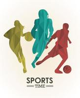 sports time poster with colorful athletes silhouettes