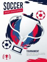 Póster deportivo de la liga de fútbol con pelotas y trofeo. vector