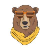 divertido oso grizzly con gafas de sol estilo fresco vector