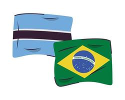 botswana and brazil flags isolated icon vector
