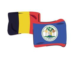belgium and belize flags isolated icon vector