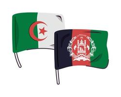 afganistan and alegeria flags isolated icon vector