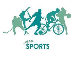 Cartel de tiempo deportivo con siluetas de figuras de atletas verdes vector