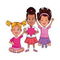 happy interracial girls with puzzle piece vector