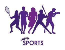 sports time poster with purple athletes silhouettes