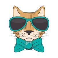 gato gracioso con gafas de sol estilo fresco vector