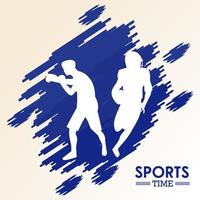 sports silhouettes of boxing and football vector