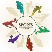sports time poster with athletes figures in circular frame